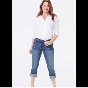 NYDJ Dayla Wide Cuff Cropped Jeans SZ 12 MINT